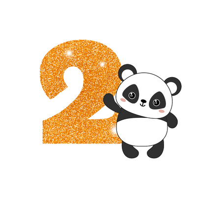 Gold glittering number two. Birthday anniversary number with cute panda. Birthday template with panda for greeting cards, invitations. Illustration