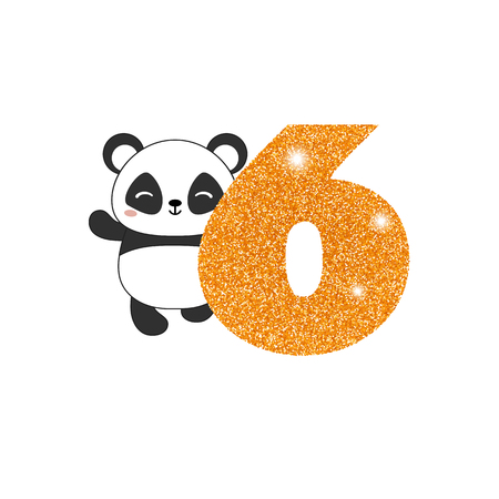 Gold glittering number six. Birthday anniversary number with cute panda. Birthday template with panda for greeting cards, invitations.