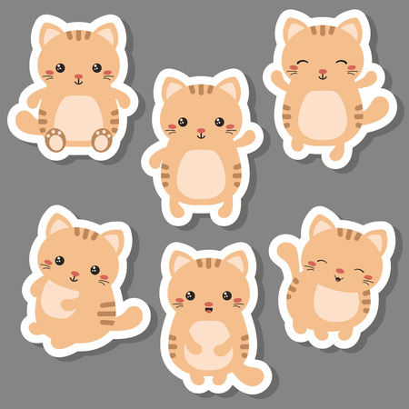 Vector set of cute cats on white background. Cats made in cartoon style.