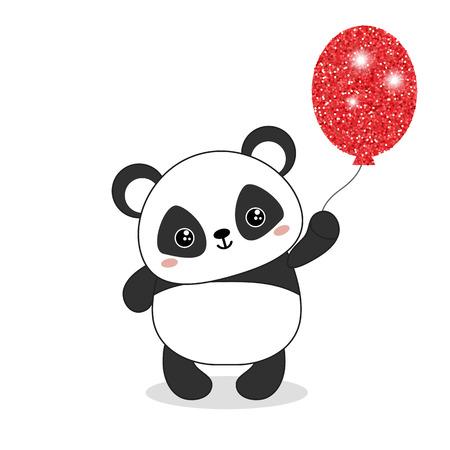 Panda bear illustration. Panda holds a balloon. Valentine's Day. 일러스트