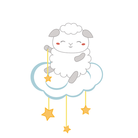 Illustration with cartoon sheep sitting on the cloud.