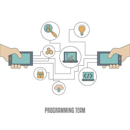 App development concept. Software development and computer technology.