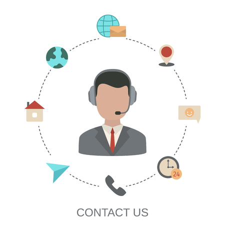 Contact us support help concept. Media and communication icon. Illustration