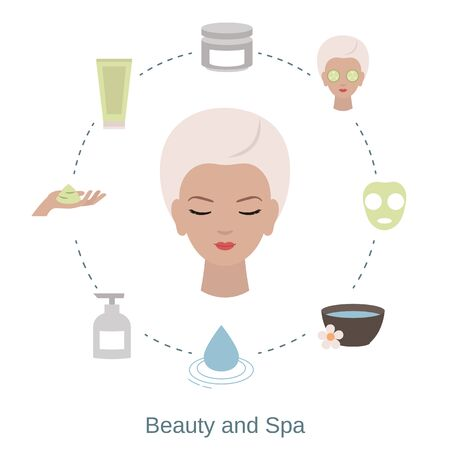 Beauty and spa salon infographics with beauty icons.