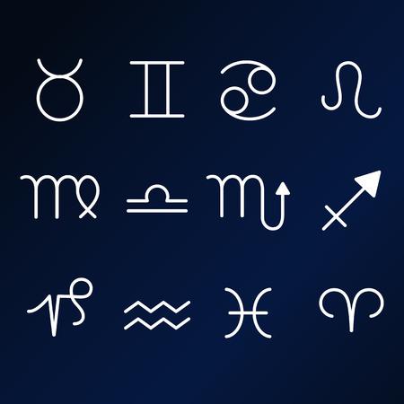 Set of zodiac icons on dark blue background. Illustration