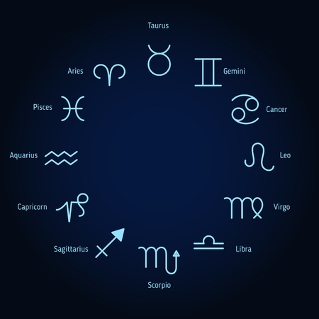 Circle with signs of zodiac. Dark blue background. Vettoriali