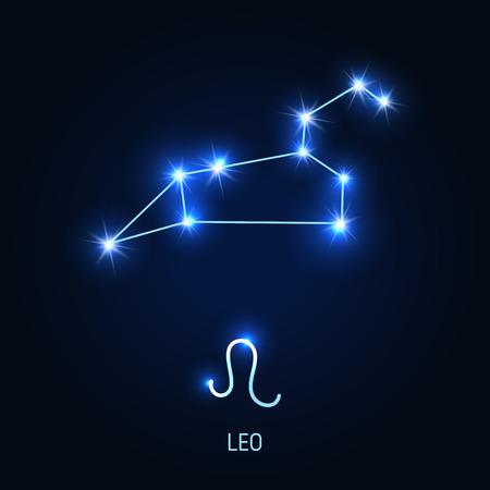Leo constellation and zodiac sign vector illustration. Illustration