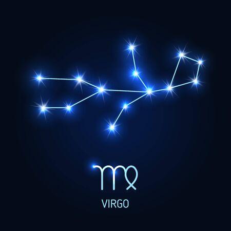 Virgo constellation and zodiac sign vector illustration. Illustration