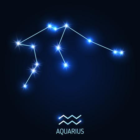 Aquarius constellation and zodiac sign vector illustration.