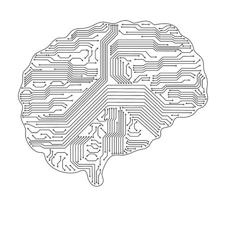 Abstract technological brain. Digital brain concept. Vector illustration. Vectores