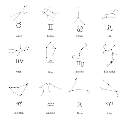 Collection with zodiac symbols and constellations on white background.