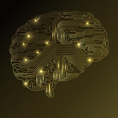 Abstract technological brain. Digital brain concept. Vector illustration. Illustration