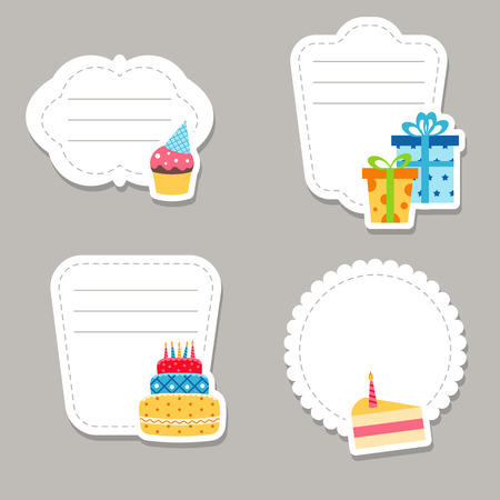 Collection of cute text frames with birthday icons. Иллюстрация