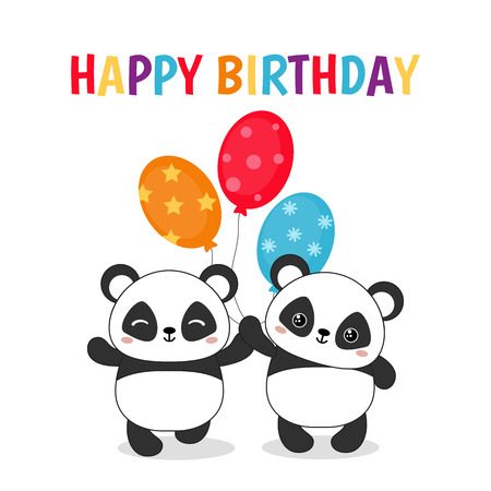 Greeting card for Birthday with cute pandas illustration.