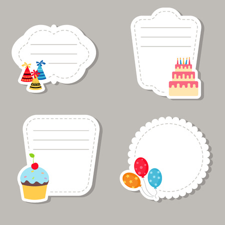 Collection of cute text frames with birthday icons.