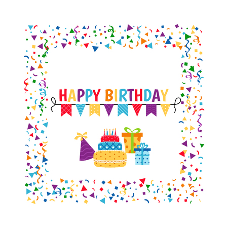 Birthday card Background with gift boxes and celebration design elements. Vector illustration.