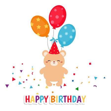 Greeting card for Birthday with cute bear. Illustration