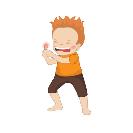 Boy feels a pain in his finger. Cartoon style illustration isolated on white background.