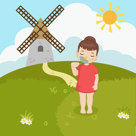 Little girl smelling flower. Cartoon style illustration. Forest landscape. Illustration