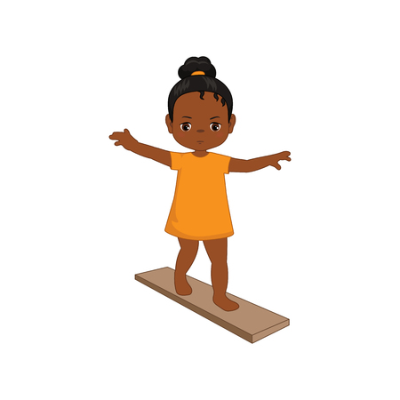 Little girl keeping balance. Cartoon style illustration isolated on white background. Illustration