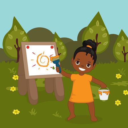 Vector illustration. Child is drawing in art class. Little girl. Beautiful summer landscape. Illustration