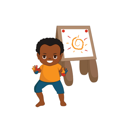 Vector illustration. Child is drawing in art class. Beautiful little boy. Illustration