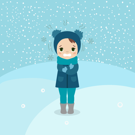 Freezing and shivering young girl on winter cold. Cartoon style illustration. Winter landscape. Ilustração