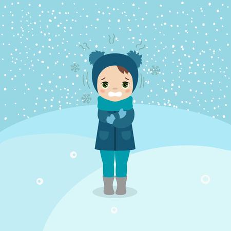 Frierendes und zitterndes junges Mädchen bei Winterkälte. Karikaturartillustration. Winterlandschaft.