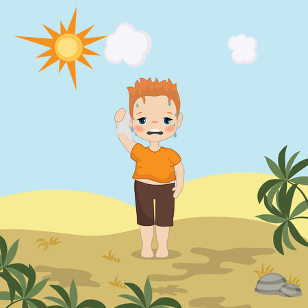 Boy feeling hot weather. Cartoon style illustration. Desert landscape.