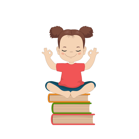 Child is sitting on a pile of books. Cartoon style illustration isolated on white background.