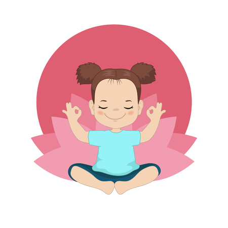 Kids yoga design concept with girl in yoga position. Vector Illustration