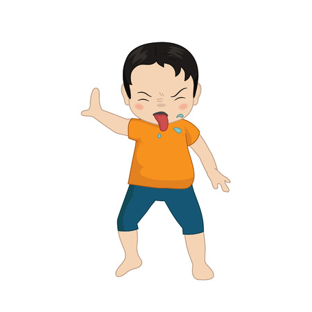 Boy has refused. Cartoon style illustration isolated on white background.