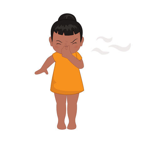 Illustration little girl pinching her nose after smelling something bad Ilustração