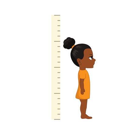 Kid measures the growth. Girl is measuring his height.