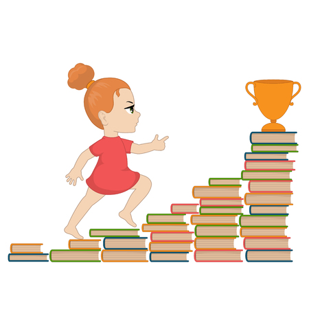 Illustration of a girl going up the stairs of books.
