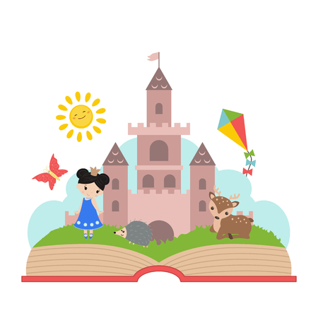 Imagination concept. Open book with castle and princess Vectores