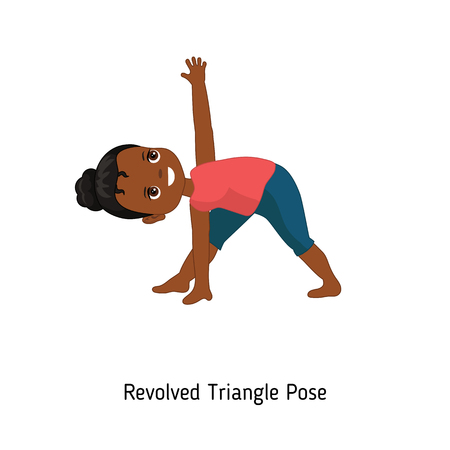Child doing yoga. Revolved Triangle Yoga Pose. Cartoon style illustration isolated on white background. Vectores