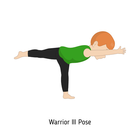 Child doing yoga. Warrior three Yoga Pose. Cartoon style illustration isolated on white background.