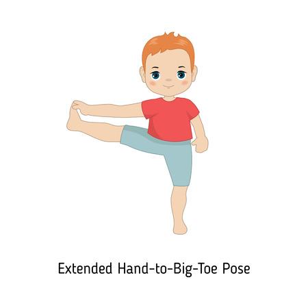 Child doing yoga. Extended Hand to Big Toe Yoga Pose. Cartoon style illustration isolated on white background. Illustration