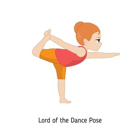 Child doing yoga. Lord of the Dance Yoga Pose. Cartoon style illustration isolated on white background. Иллюстрация