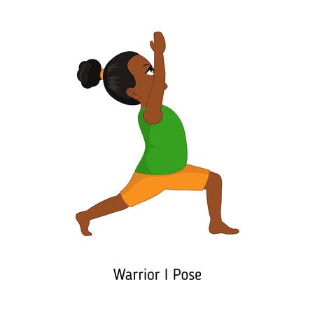 Child doing yoga. Warrior one Yoga Pose. Cartoon style illustration isolated on white background.