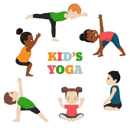 Kinder Yoga Set. Gesunder Lebensstil. Karikaturartillustration lokalisiert auf weißem Hintergrund.