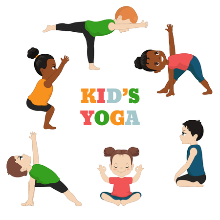 Set di yoga per bambini. Uno stile di vita sano. Illustrazione di stile del fumetto isolato su priorità bassa bianca.