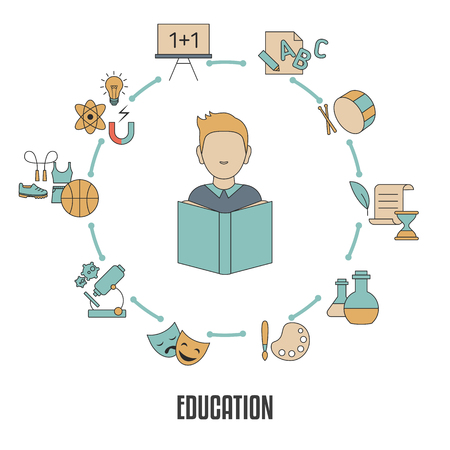 Education infographic template with school subjects icons. Back to School. Illustration