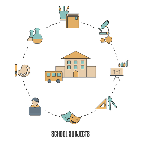 School subjects design concept with education, school and university elements.