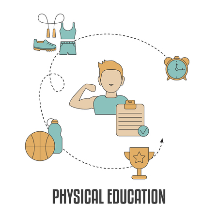 School subjects design concept. Physical education. Background with education icons. 일러스트