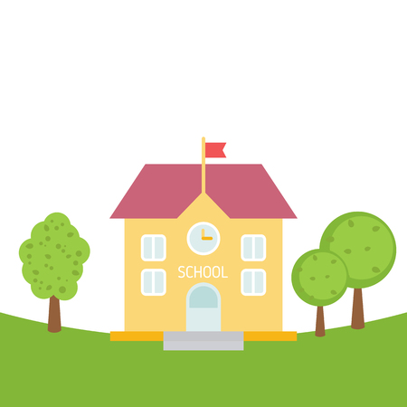 School building in flat style. Back to school concept illustration.