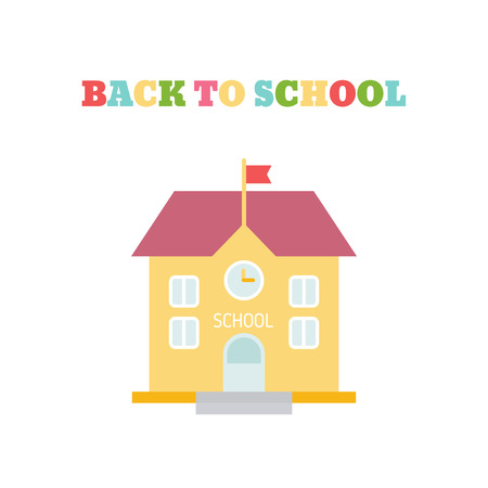 School building in flat style. Back to school concept illustration. Ilustrace