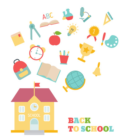 Back to school theme with education, school and university icons.