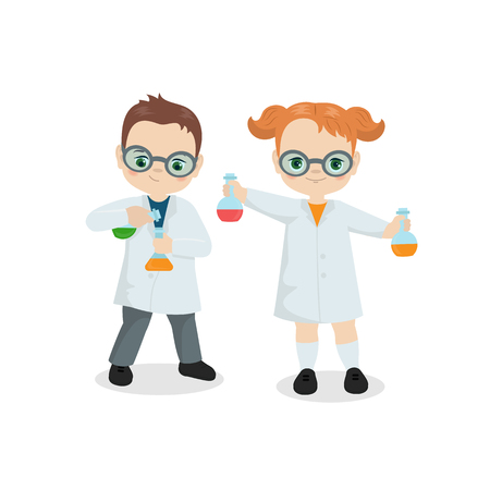 Back to school theme with scientist kids. Chemist Experiment.